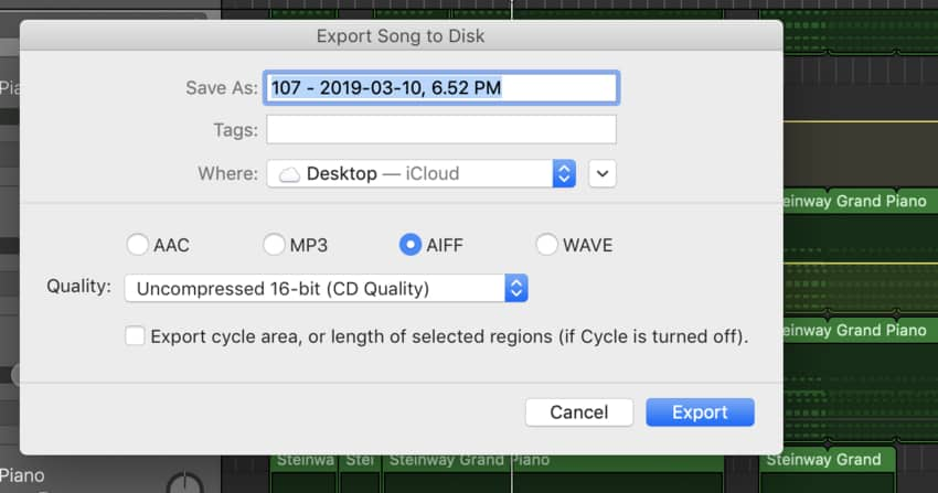 5 Export As AIFF File (Edited) How To Master A Song in Garageband