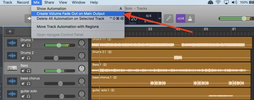1-a-Fade-Out-Edited Automation in Garageband
