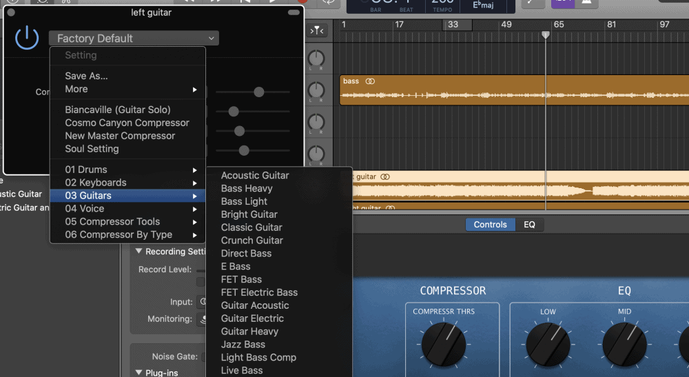 Compressor Presets - Improve Guitars in Garageband