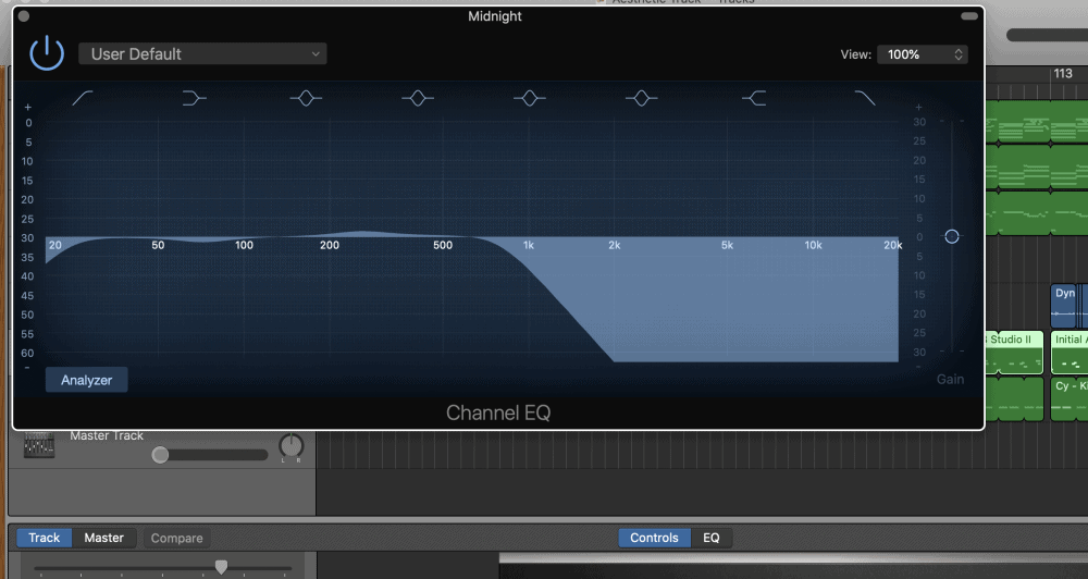 Channel EQ on the Bass - How to Make an Aesthetic Track in Garageband