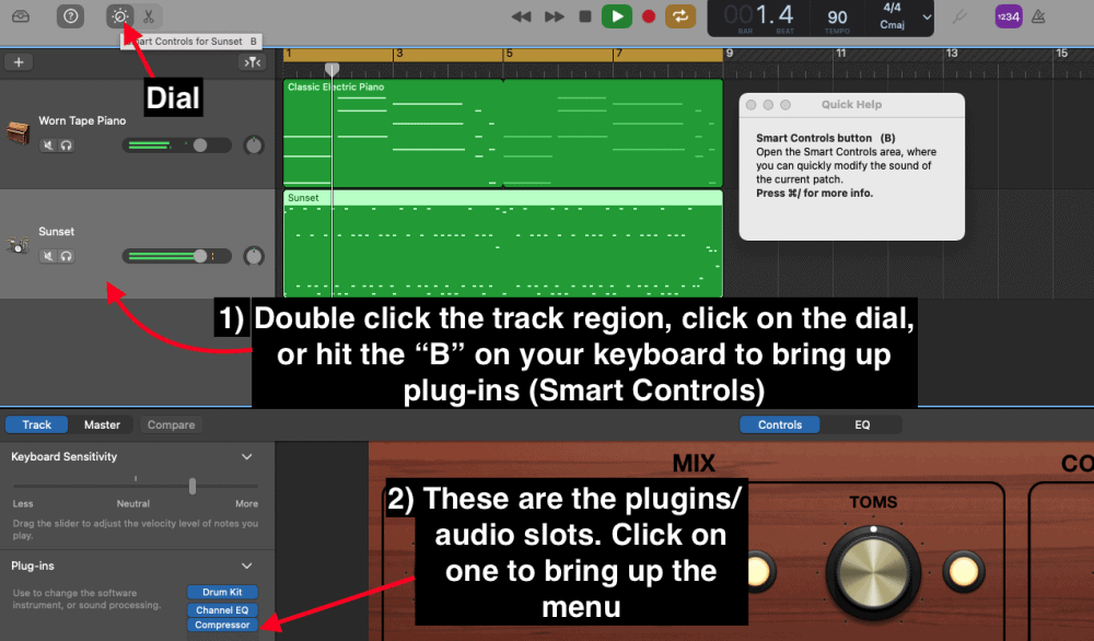 How to bring up the plug-ins and audio slots