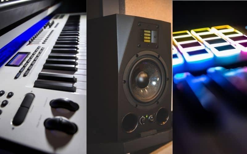 MIDI Keyboard, Studio Monitors, and Drumpad