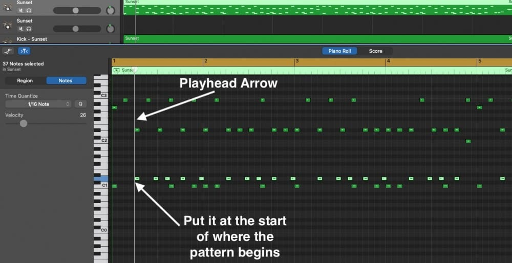 Playhead Arrow Trick for Drums