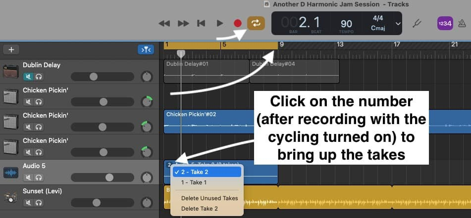 Cycling, Takes, Time Duration, and More Explanation of the Feature
