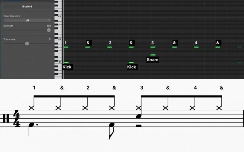 Half-Time Pattern in MIDI and Standard Notation