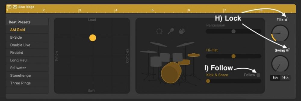 The Lock and Follow Button - How to Create Drums in Garageband