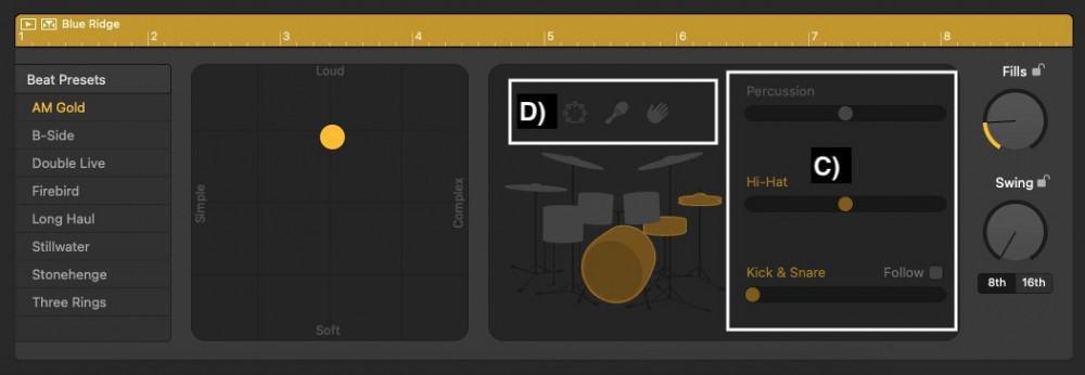 Percussion, Hi-Hats (Cymbals), and Kick and Snare