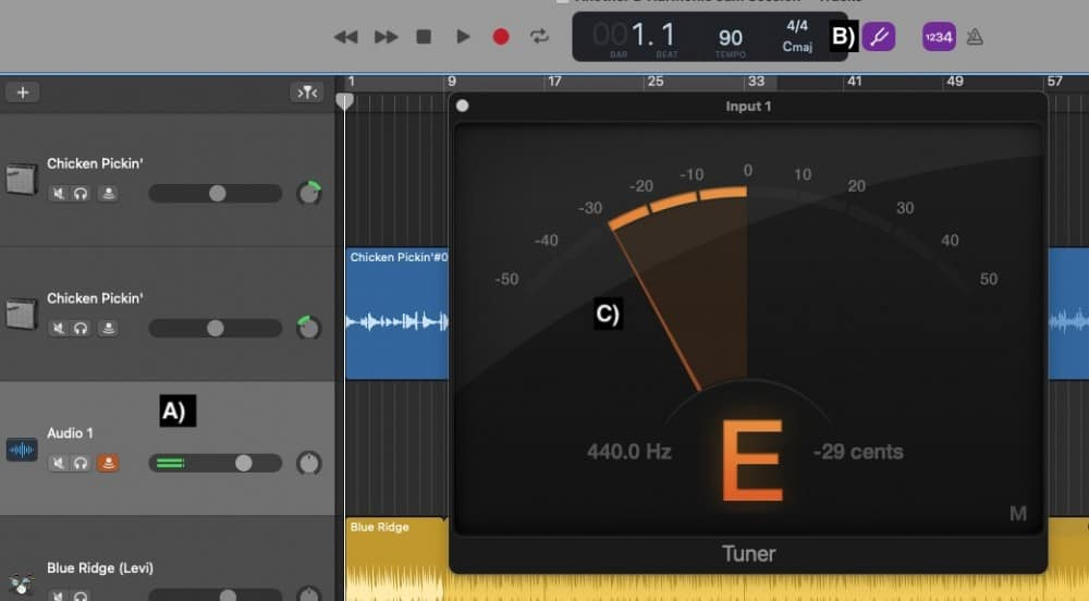 Setting up the Tuner in Garageband with a Guitar