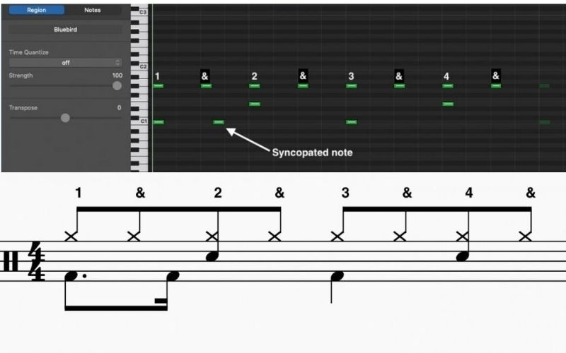 Syncopated Rock Pattern - Standard Notation and MIDI Format