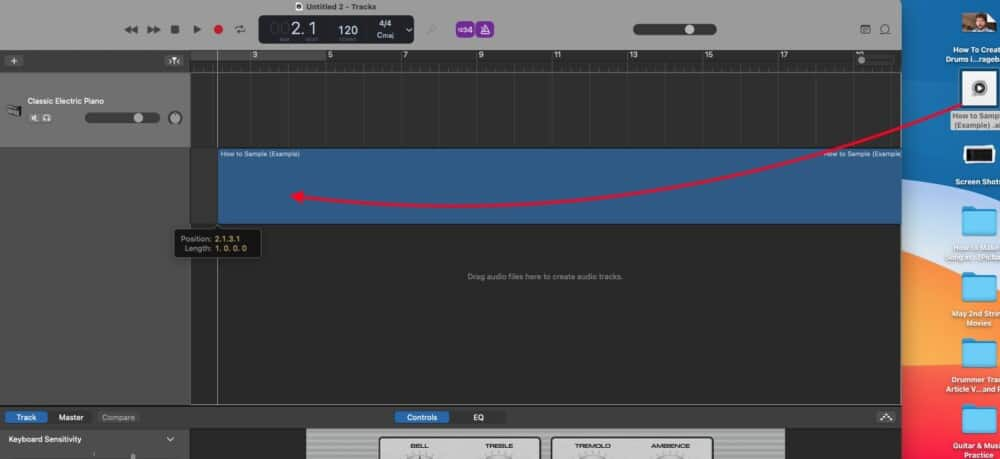 Dragging The Sample - How to Sample in Garageband