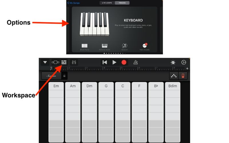 Options and Workspace Icon - How to Make a Song with GB iOS