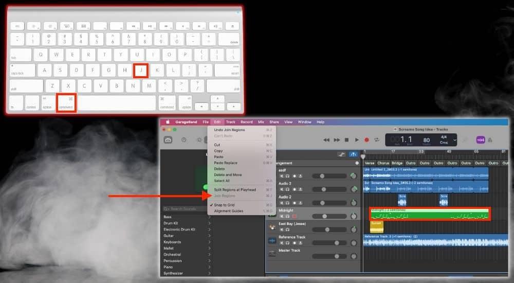 Command + J Join Regions - Keyboard Shortcuts