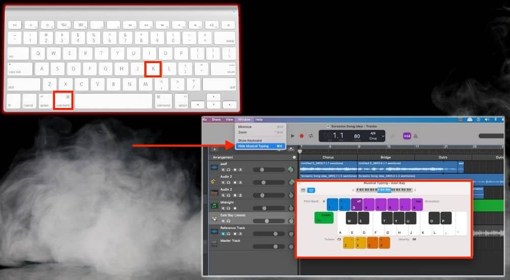 Command + K Bring up Musical Typing - Keyboard Shortcuts