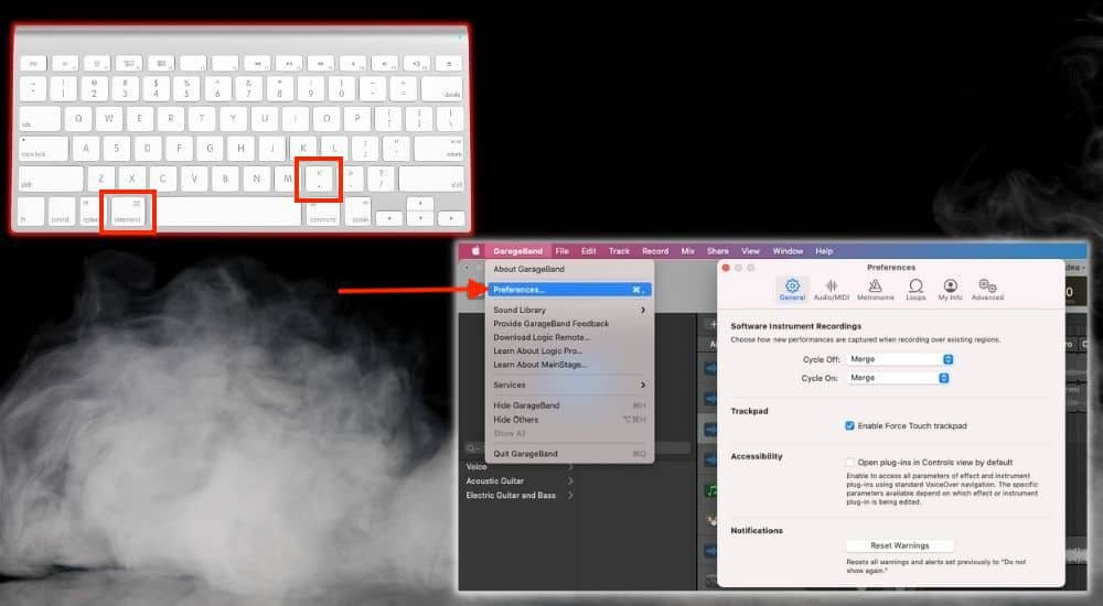 Command + , Open Preferences - Keyboard Shortcuts Article