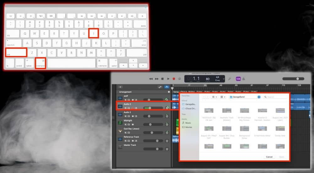 Command + Shift + i Add Audio - Keyboard Shortcuts