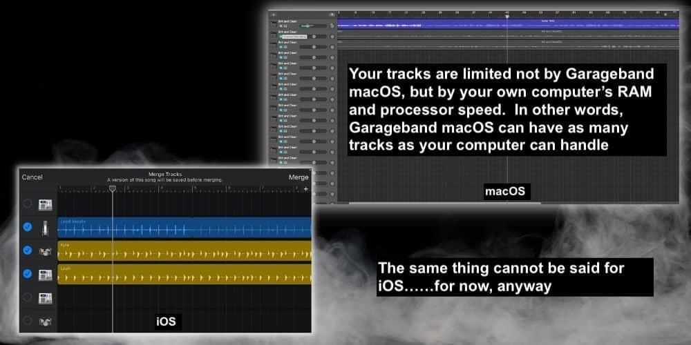 Merge Tracks iOS - iOS versus Garageband macOS