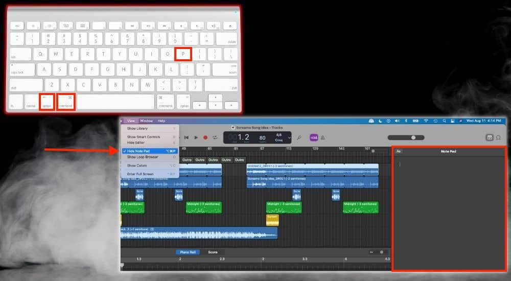 Option + Command + P Show-Hide Note Pad - Keyboard Shortcuts Article