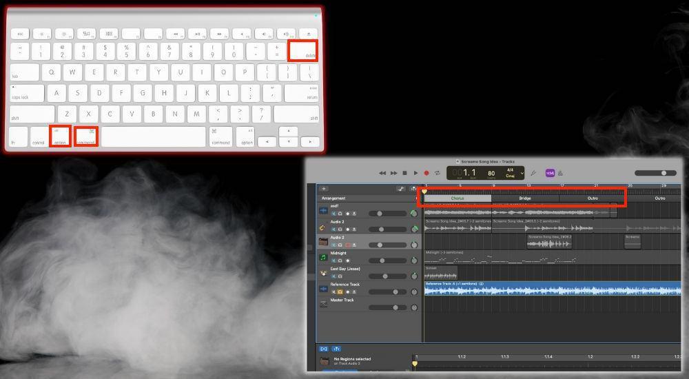 Option + Command.+ Delete - Cut the Selected Arrangement Marker
