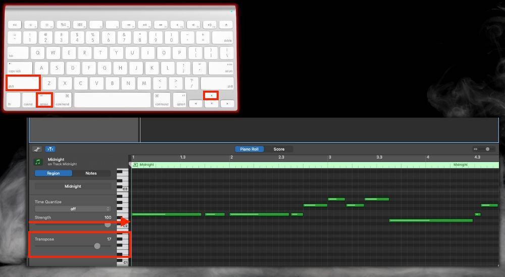 Option + Shift + Up Arrow  Transpose Octave - Keyboard Shortcuts