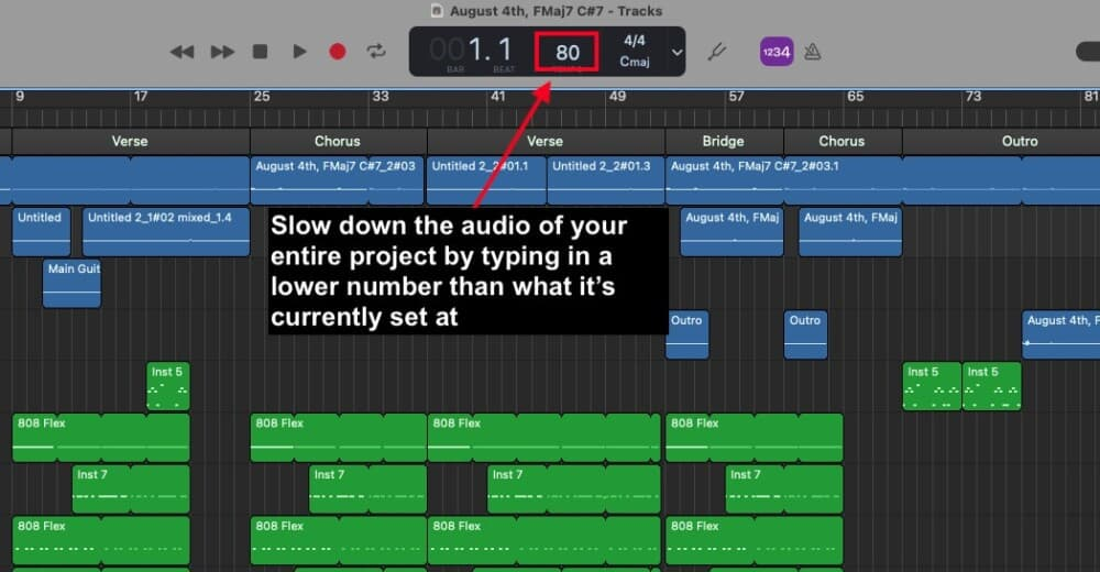 BPM - How to Slow Down Audio in Garageband