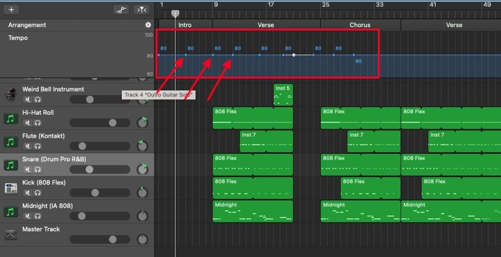 Blue Automation Points - How to Slow Down Audio in Garageband