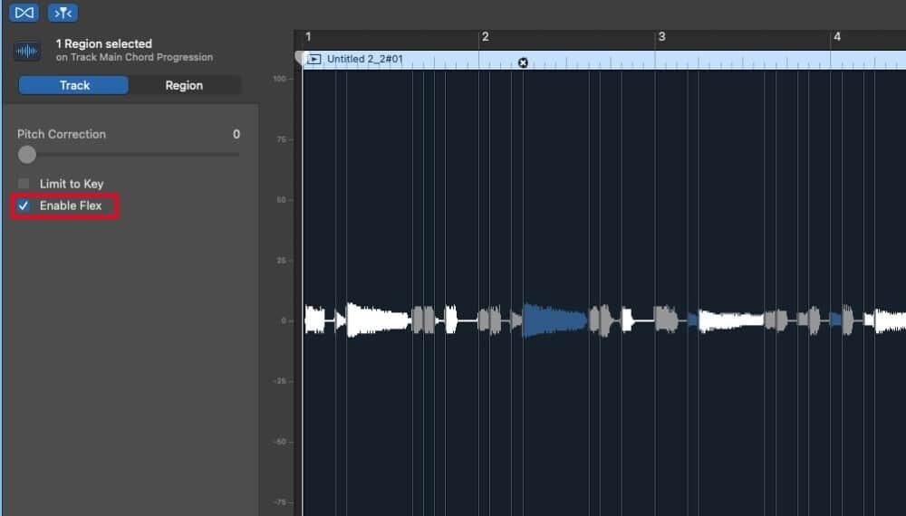 Enable Flex - How to Slow Down Audio in Garageband