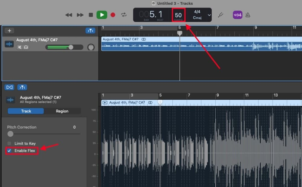 Enable Flex and BPM - How to Slow Down Your Audio in Garageband