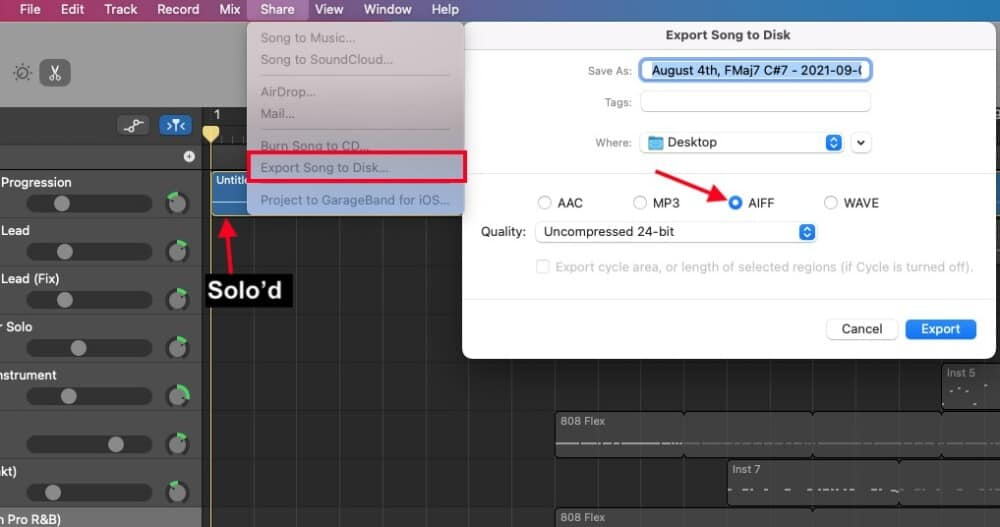 Export with Solo On - How to Slow Down Audio in Garageband