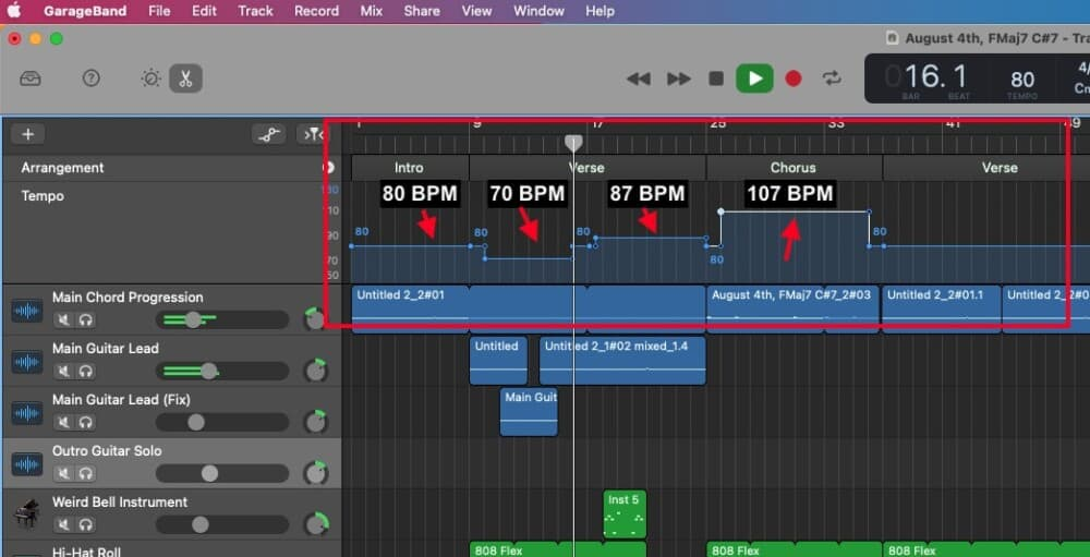 Tempo Track - How to  Slow Down Audio in Garageband